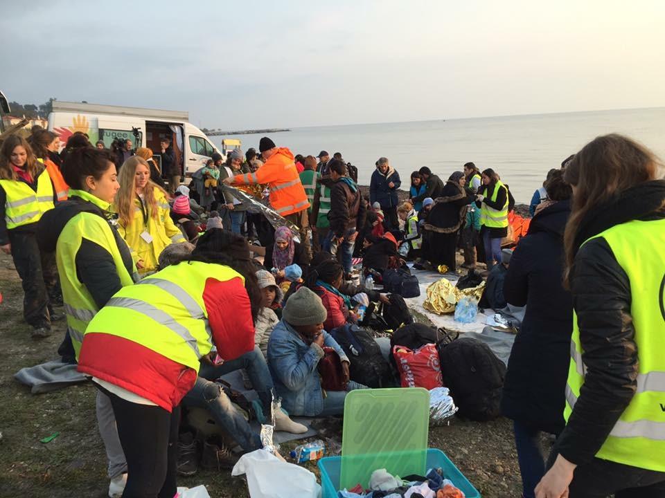 Refugiados llegados a Lesbos