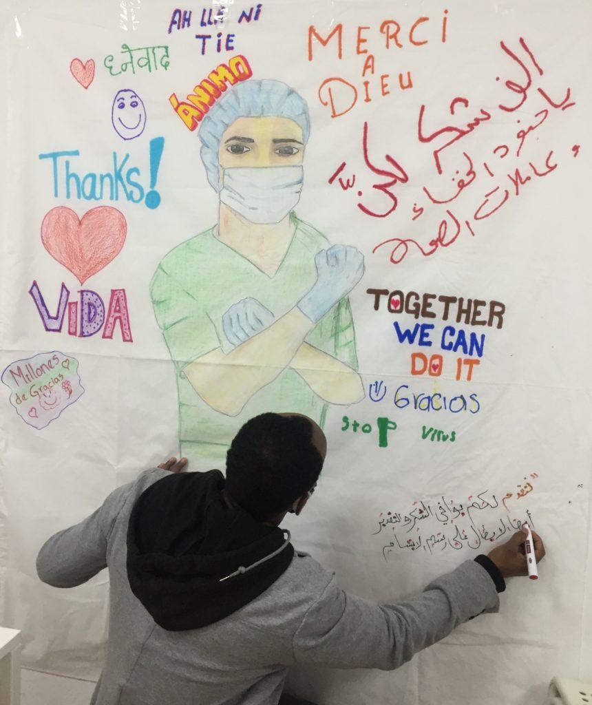 mural de los refugiados a los sanitarios