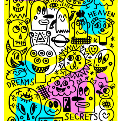 Autor: Albert Pinya Título: Love, heaven, dreams, secrets Medidas: 49x35cm Técnica: Serigrafía manual a 4 tintas Papel: Fedrigoni Frelife Mérida 320g Edición: 300 ejemplares firmados y numerados por el artista de 1/300 a 300/300 Realización: Cecilia Segura de Tony Velonis Año: 2019 P.V.P: 300€
